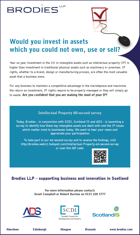Brodies advert in The Herald 20 June 2012 launching the IP survey