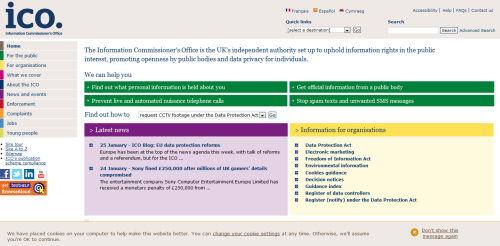 Screenshot of the ICO website. 4 February 2013